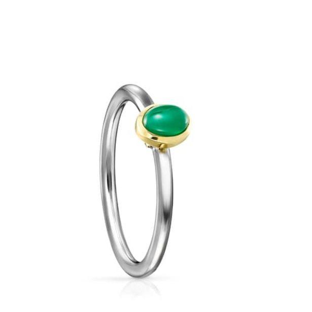 Oferta de Anillo de titanio con oro y agata verde Gem Power por 66€
