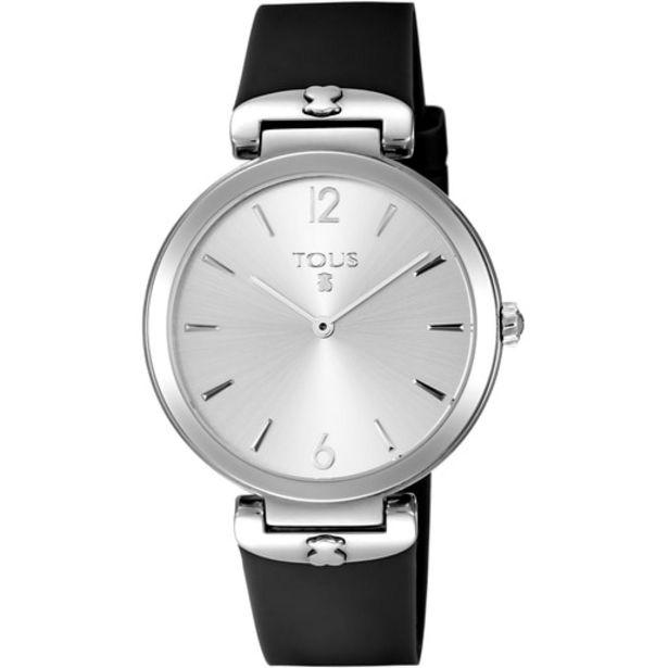 Oferta de Reloj S-Mesh de acero con correa de silicona negra por 104€