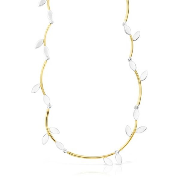Oferta de Collar de plata vermeil y plata Real Mix Leaf por 168€