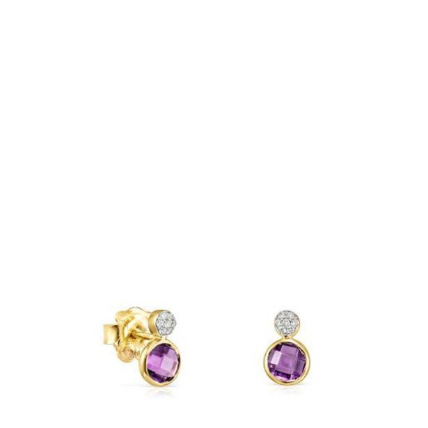 Oferta de Pendientes de oro con amatista y diamantes Color Kings por 195€
