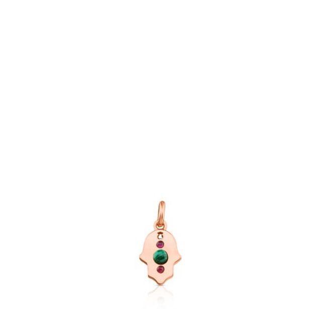 Oferta de Colgante de plata vermeil rosa con malaquita y rubí Super Power por 48€