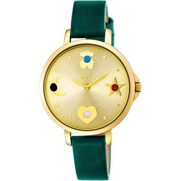 Oferta de Reloj Super Power de acero IP dorado con correa de piel verde por 77€