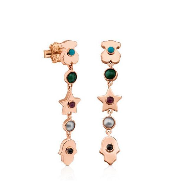 Oferta de Pendientes de plata vermeil rosa con gemas Super Power por 107€