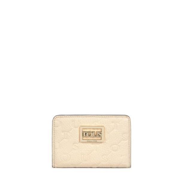 Oferta de Billetera pequeña T Script  de piel en beige y marrón por 29€