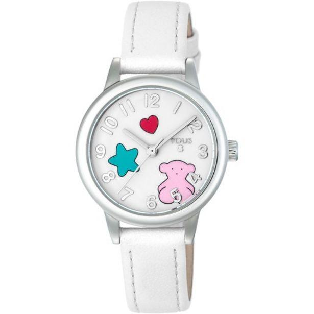 Oferta de Reloj Muffin de acero con correa de piel blanca por 66€