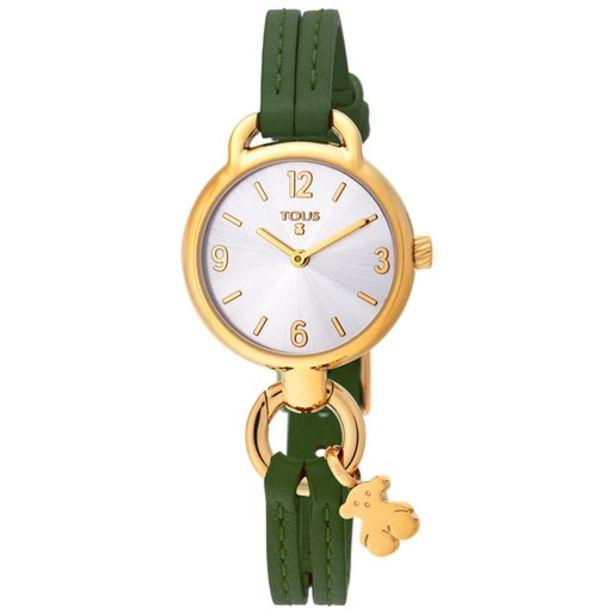 Oferta de Reloj Hold de acero IP dorado con correa de piel verde por 113€