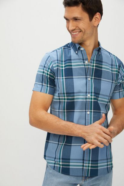 Oferta de Camisa cuadros manga corta por 11,99€