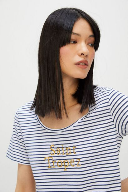 Oferta de Camiseta rayas texto bordado por 5,99€