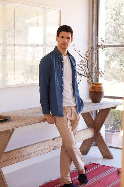 Oferta de Pantalón lino cintura elástica slim por 14,99€