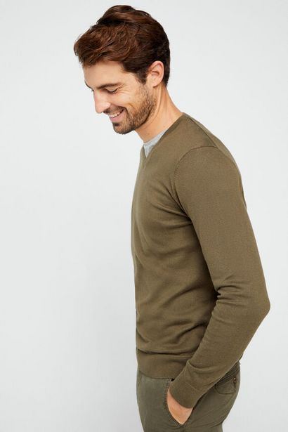 Oferta de Jersey cuello pico algodón orgánico por 9,99€