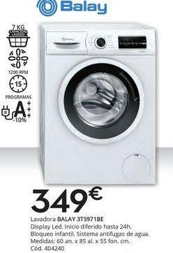 Oferta de Lavadoras Balay por 349€