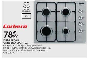 Oferta de Placa de gas Corberó por 78,99€