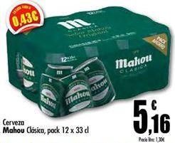 Oferta de Cerveza Mahou Clásica  por 5,16€