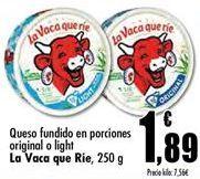 Oferta de Queso fundido en porciones original o light La Vaca que Rie por 1,89€
