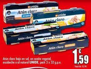 Oferta de Atún claro bajo en sal, en aceite vegetal, escabeche o al natural UNIDE por 1,59€