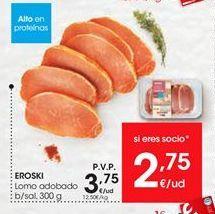 Oferta de EROSKI Lomo adobado b/sal, 300 g por 3,75€