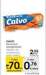 Oferta de CALVO Mejillón en escabeche, pack 3x80 g por 2,55€