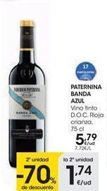 Oferta de PATERNINA BANDA AZUL Vino tinto D.O.C. Rioja crianza, 75 cl por 5,79€