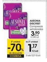 Oferta de AUSONIA DISCREET Compresas señalizadas por 3,9€
