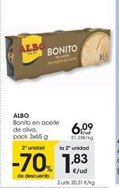 Oferta de ALBO Bonito en aceite de oliva, pack 3x65 g por 6,09€