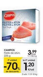 Oferta de CAMPOS Filete de atún, 225 g por 3,99€