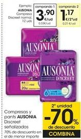 Oferta de AUSONIA Compresa Discreet normal, 12 uds por 3,9€
