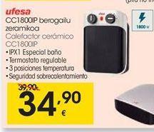 Oferta de Ufesa Calefactor cerámico CC1800IP por 34,9€