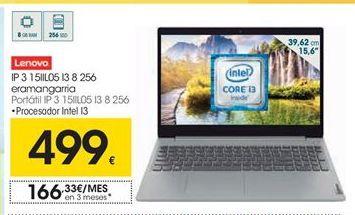 Oferta de Lenovo Portátil IP 3 15IIL05 I3 8 256 por 499€