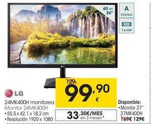 Oferta de LG Monitor 24MK400H por 99,9€