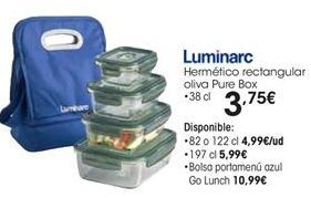 Oferta de Hermético rectangular oliva Pure Box • 38 cl por 3,75€