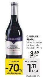 Oferta de Vino tinto carta de plata por 3,69€