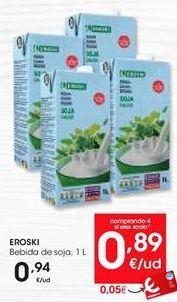 Oferta de Bebida de soja eroski por 0,94€