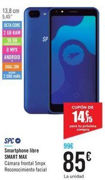 Oferta de Smartphone libre SMART MAX SPC por 85€