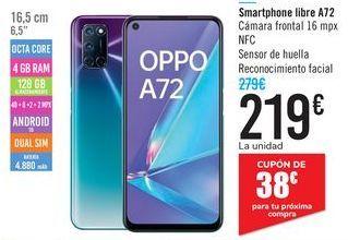 Oferta de Smartphone libre A72  por 219€