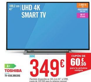 Oferta de TV 43UL3B63DG TOSHIBA por 349€