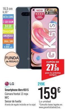 Oferta de Smartphone libre K51S LG por 159€
