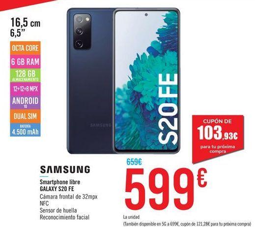 Oferta de Smartphone libre Galaxy S20 FE SAMSUNG por 599€