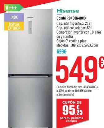 Oferta de Combi RB400N4BC3 Hisense  por 549€