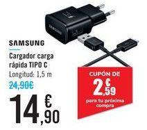 Oferta de Cargador carga rápida TIPO C SAMSUNG por 14,9€