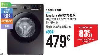 Oferta de Lavadora WW90TAO46AX Samsung  por 479€