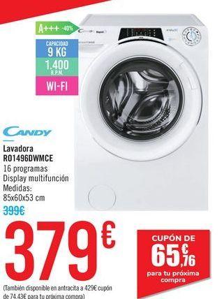 Oferta de Lavadora Ro1496DWMCE Candy por 379€
