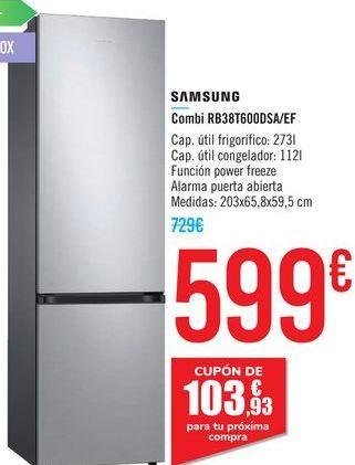 Oferta de Combi RB38T600DSA/EF SAMSUNG  por 599€