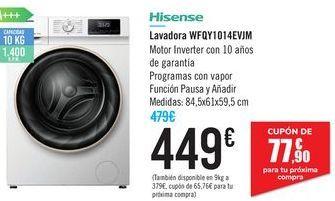Oferta de Lavadora WFQY1014EVJM Hisense por 449€