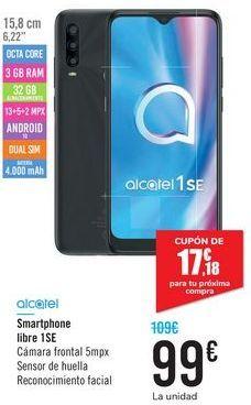 Oferta de Smartphone libre 1SE Alcatel por 99€