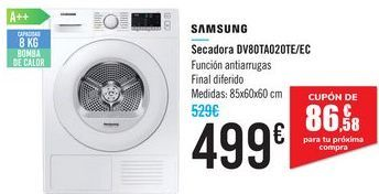 Oferta de Secadora DV80TA020TE/EC SAMSUNG por 499€