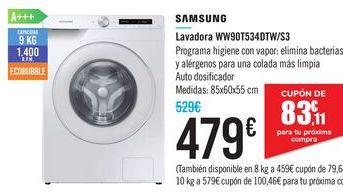 Oferta de Lavadora WW90T534DTW/S3 SAMSUNG por 479€