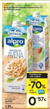 Oferta de Bebida de avena Alpro por 1,91€