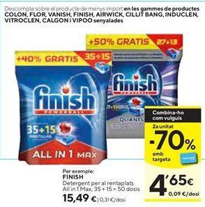 Oferta de Detergente lavavajillas Finish por 15,49€