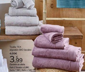 Oferta de Toalla TEX algodón BIO lavabo por 3,99€