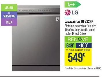 Oferta de Lavavajillas DF222FP LG  por 549€